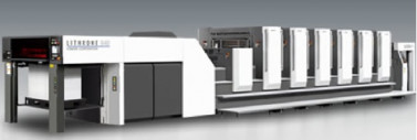 The Komori Lithrone G40 (GL640) sheetfed offset press.