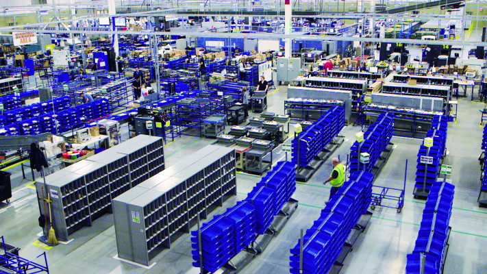 A bird's eye view of the binning area in the Windsor, Canada, manufacturing facility - Cimpress