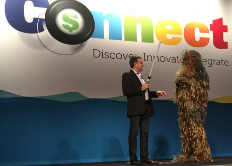 EFI CEO Guy Gecht, standing with Chewbacca, emphasized the six guidelines for becoming a Jedi in the business of printing.