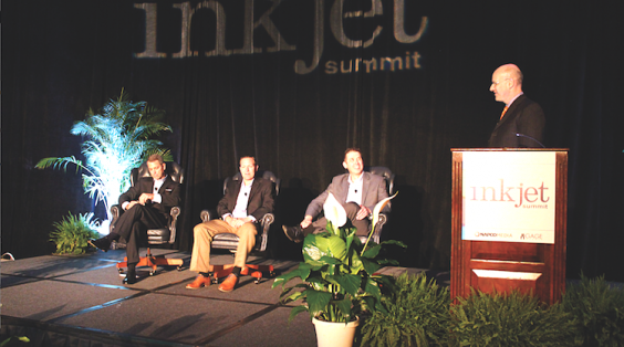 Marco Boer (far right) led a Keynote Sponsor panel featuring, from the left, Francis McMahon, Canon Solutions America; Dustin Graupman, Xerox; and Mike Herold, Ricoh.