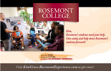 This mailer, which is part of an alumni fundraising campaign at Rosemont College, drives recipients to a personalized URL.