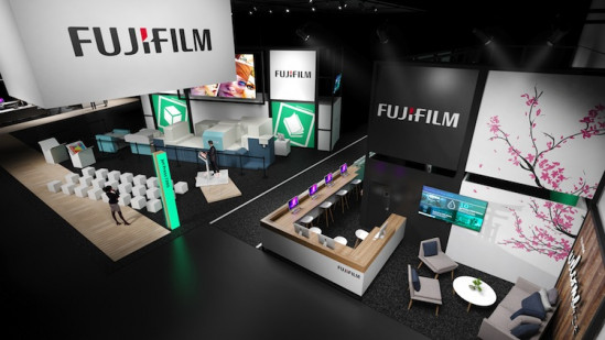 A preview of what the Fujifilm stand will look like at drupa 2016.
