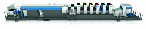 An overview of the Rapida 145 at drupa: waste is ejected onto pile one and the OK sheets are delivered to pile two.