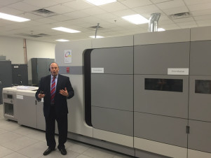 One of the highlights of the anniversary event was a trip to the Customer Experience Center for several product demonstrations, including the VarioPrint i300 cut-sheet inkjet press shown above.