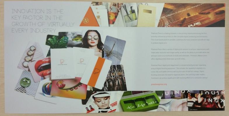 This brochure highlights Prestone's digital printing capabilities.