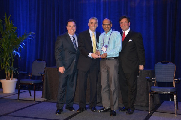 From the left, Mark Subers, Printing Impressions; David Pesko, nGage Events; Who is this ???Kodak (Received Award for Best Sponsor Case Study Presentation – General Commercial Segment); and Philip McKay, nGage Events.
