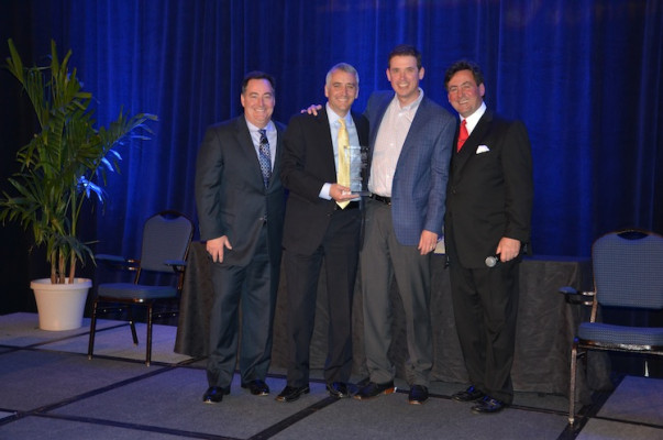 From the left, Mark Subers, Printing Impressions; David Pesko, nGage Events; Mike Herold, Director, Global Marketing for Inkjet Solutions, Ricoh (Received Award for Best Sponsor Case Study Presentation – Transaction Segment); and Philip McKay, nGage Events.