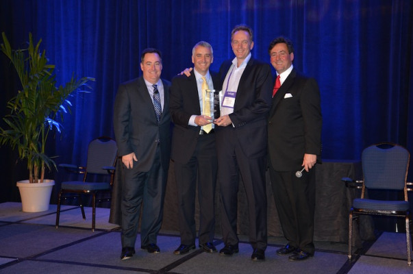 From the left, Mark Subers, Printing Impressions; David Pesko, nGage Events; Jonathan Edwards, VP Inkjet Business Development, Xerox (Received Award for Best Sponsor Case Study Presentation – Direct Mail Segment); and Philip McKay, nGage Events.
