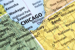 Map of Chicago, Illinois State in USA