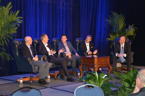Marco Boer, VP, IT Strategies (far right), leads the keynote panel discussion that includes, from the left, Eric Wiesner, general manager, PageWide Web Press, HP Inc.; Jonathan Edwards, VP, inkjet business development, Xerox Corp.; Mike Herold, director, global marketing for inkjet solutions, Ricoh; and Francis A. McMahon, Sr. VP marketing and sales operations, Production Print Solutions, Canon Solutions America.