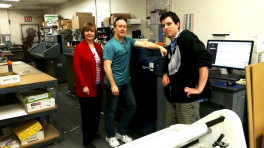 The Minuteman Press franchise in Selden, N.Y. appreciates the speed and efficency of the Konica Minolta C1085 digital press. (From left) Rita Passeggio, owner; Scott Bomine, shop manager; and Miles Mongeau; graphic designer.
