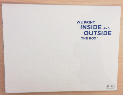 On the back of the folder, embossing was applied.