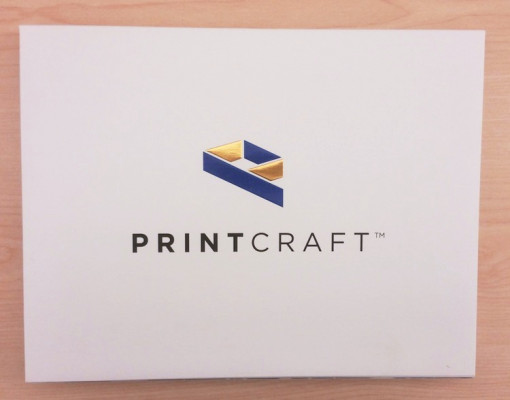 Print Craft created this folder that contains six components as a self-Promotional piece to highlight the company's capabilities. Displayed here is the front of the folder.