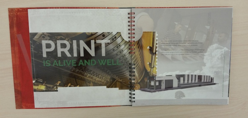 This page in the booklet emphasizes that Wallace Carlson Printing is still making an impact with print.