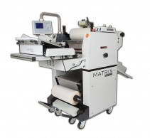 The Matrix Auto-Feeder connected to the Matrix MX-530DP Duplex Laminating System.