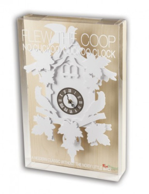 FunDeco's fully operational cuckoo clock is made of ConVerd material and is packaged in a box that's hand-assembled in-house. It is produced in six colors and comes in two sizes.