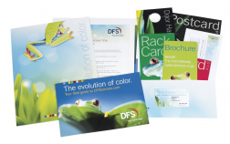 DFS produced its own marketing collateral kit as a promotion in support of DFSfullcolor.com, its Web-to-print solution.
