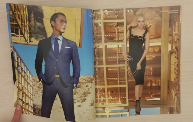 The fashion spread incorporates both the desert landscape and gold house. Sappi Fine Paper 100-lb. Opus gloss text was used.