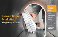 """The Transactional Marketing brochure includes a segment titled """"Looking at the Numbers,"""" which features industry stats that are impacting this space."""