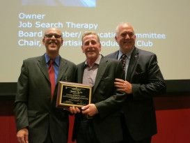 James (Jimmy) Levin accepts the 2016 Champion of Education Award from GCSF president Jerry Mandelbaum and past president David Luke.