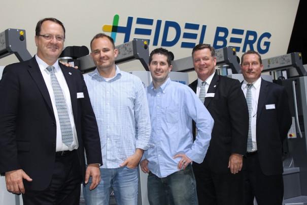 From left: Brice Tarling (Heidelberg); Lynn Nelson (AlphaGraphics); Walt Baker (AlphaGraphics); Mark Carlson (Heidelberg); and Jeff Dunham (Heidelberg).