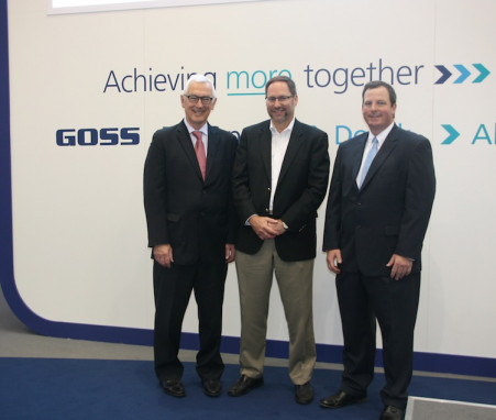 Left to right: Graham Trevett, VP of sales, Goss; Brad Hoffman, president and CEO, Arandell; and Mike Shaw, district sales manager, Goss.