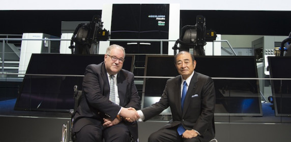 Chief executives from Fujifilm and Heidelberg (Shigetaka Komori (r) and Gerold Linzbach) meet at drupa 2016 during the world premiere of the Heidelberg Primefire 106 powered by Fujifilm Inkjet Technology.