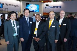 (From left) Koshi Hatano, Komori;, Eiji Kajita, Komori; Allan Brown, Kodak; Hiroshi Fujiwara, Kodak; and Chris O'Connor, Kodak.