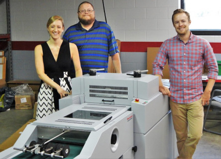 From left to right: Allison Foerster, Graphco; Joe Schorr, director of operations, Blue Label Digital Printing; and Andrew Boyd, VP, Blue Label Digital Printing.