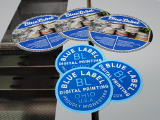Among the first jobs tested and produced on the Standard Horizon RD-4055 Rotary Diecutter are several diecut promotional pieces for Blue Label Digital Printing.