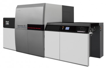 The Komori Impremia IS29 cut-sheet UV inkjet press.