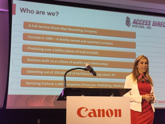 Lori Messina, from Access Direct, described her firm's success with Océ production inkjet equipment from Canon Solutions America.