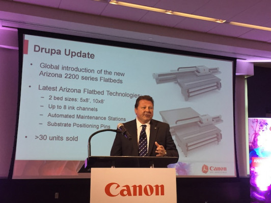 Sal Sheikh provided a drupa recap and an update on the Arizona 2200 series flatbed printer.