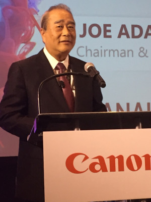 Joe Adachi, chairman and CEO of Canon Americas Group, described how Canon invests 7-8% of total revenue into R&D annually.