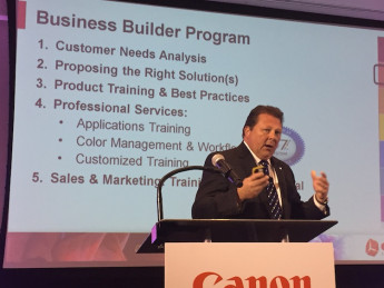 Sal Sheikh, VP of marketing, Large-Format Solutions, Canon Solutions America, provided a general outline of the new business builder program offering during a recent Canon summit held for industry press and analysts.