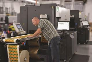 An operator at at Century Label uses the new HP Indigo 8000 digital press.