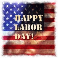 Happy Labor day american, text signs on illustration background.