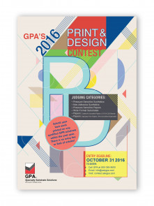 The contest flyer from GPA's 2016 Print and Design contest.