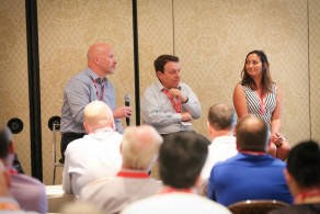 The recent thINK 2016 Conference had 60 attendees who also served as presenters, inkjet user panelists and session moderators. This user panel session, which focused on calculating the TCO for a production inkjet press, featured Merrill Corp.'s Pat Foley, Cigna's Ron Goglia and DMS Ink's Christine Soward.