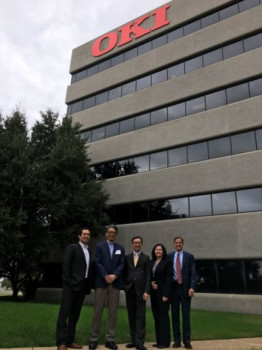 OKI Data Americas executives in Irving, Texas, (from left) Fabrizio Soto, Masahiko Morioka, Sergio Horikawa, Tina Tuccillo and Dan Murphy.