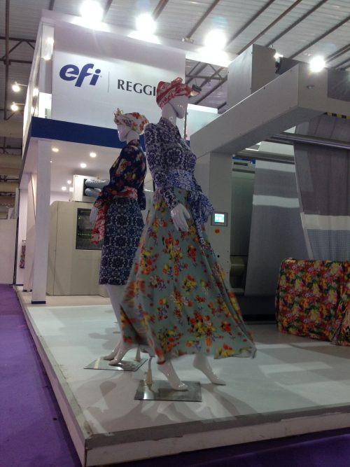 EFI Reggiani presented at digitally printed clothes at the ITME tradeshow in Mumbai, India, Dec. 5-8, 2016. The clothes were printed on an EFI Reggiani ReNOIR PRO printer.