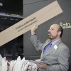 At drupa 2016, Eric Frank, KBA senior VP of marketing and product management, held aloft a piece of laminate flooring produced on the KBA RotaJET 168 high-speed inkjet solution.