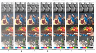 An example of G7 color consistency across five different images (click to enlarge).