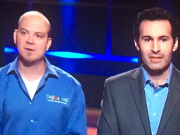 Digwrap co-founders Charlie Williams (left) and Brad Boskovic battle with the sharks to strike the best deal.