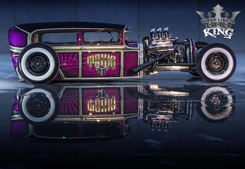 """On November 2, 2016, Avery Dennison Graphics Solutions announced that Toxic Rat by Nick Caminiti, car wrap installer at Exotic Graphix, was named the King of the Wrap World in the """"Wrap Like a King"""" Challenge at the 2016 SEMA Show. Caminiti used the Avery Dennison Supreme Wrapping Film Diamond Silver, to completely template the Tudor. This would achieve the shapes and edges needed to replicate the 1960s custom Hot Rod panelled out paint theme; it consists of lace, fingerprint, sunburst and three-dimensional cube patterns, as well as a custom airbrush piece on the rear, which was scanned and printed in high resolution on Avery Dennison DOL 1460 overlaminate."""