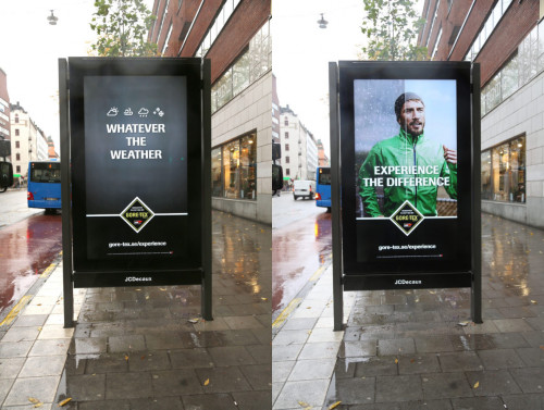GORE-TEX Dynamic weather responsive campaign, JCDecaux Sweden, November 2016