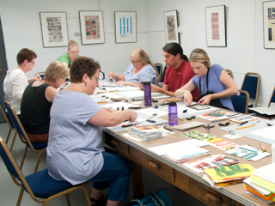 A book making workshop at the museum.