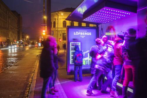 Lofbergs coffee, interactive light sensors, JCDecaux Creative Solutions Latvia, November 2016