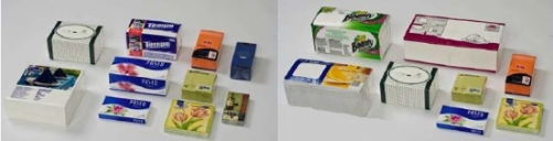 Samples produced on a Senning SE 662 flat packed napkin wrapping machine.