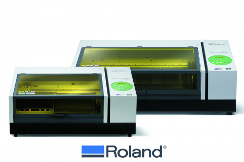 Roland has enhanced its VersaUV LEF series with the introduction of new LEF-200 (back) and LEF-12i (front) UV flatbed printers.